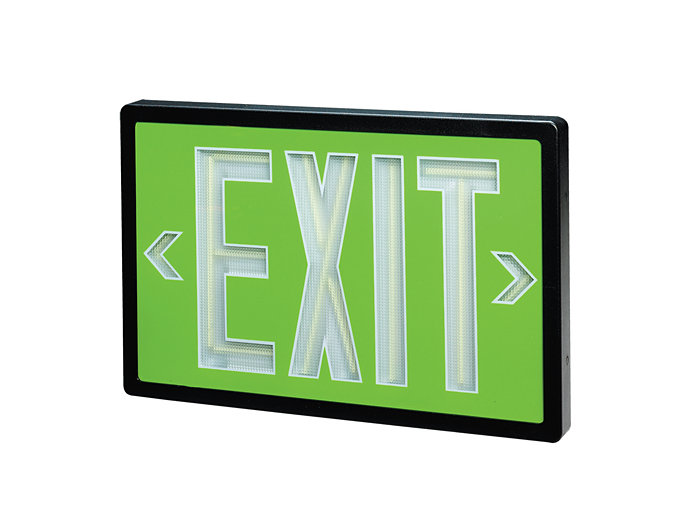 Self Luminous Exit, Red Panel, 20 Year Life, Double Face, Brushed Aluminum Plastic Frame
