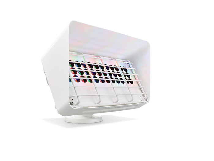 Blast Powercore gen4 LED wall washing fixture with Louver, Rock Guard and Half Glare Shield