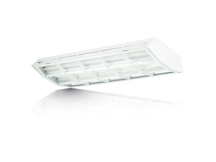 Aesthetic louvered fluorescent High-Bay with up-light available with 7 lamps T5 or T8.