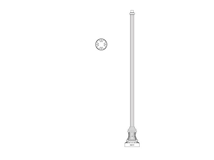 Pole (P2060), Round Straight Fluted Pole