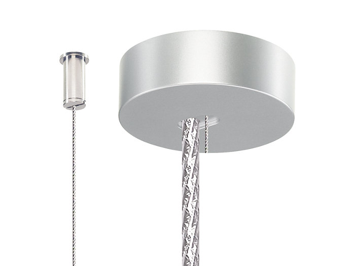 Set of two single-steel-wire suspensions with ceiling fixation (SM2). One ceiling cap is included for the metal-like power cord