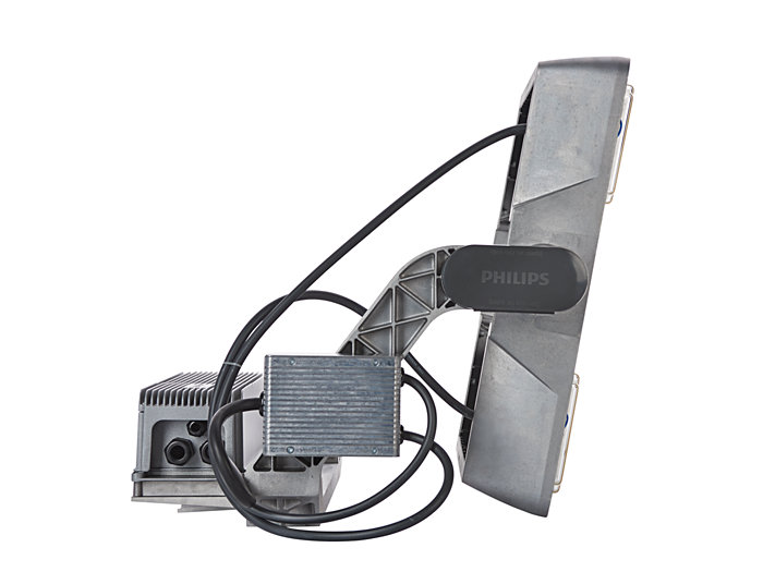 Left side view of BVP515 floodlight (HGB: version with driver box attached)