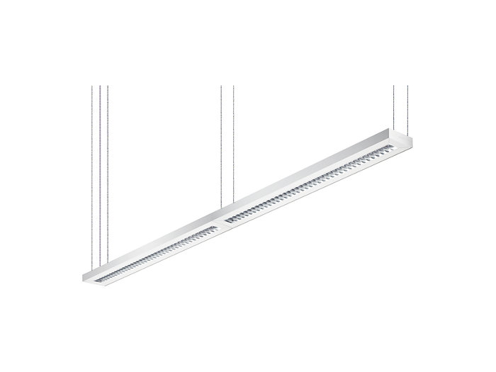 Arano suspended luminaires can be connected in a line arrangement. Dedicated line luminaires are available