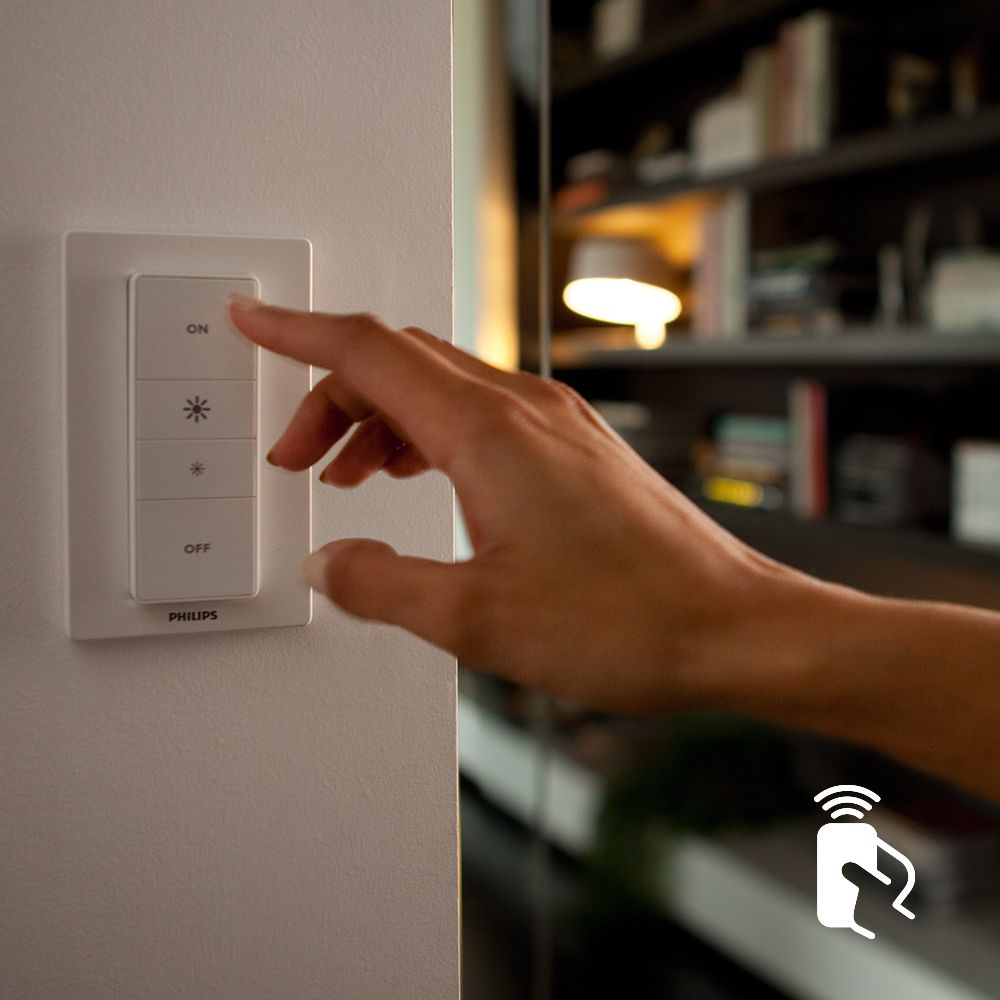 Control via the included Philips Hue wireless dimmer switch