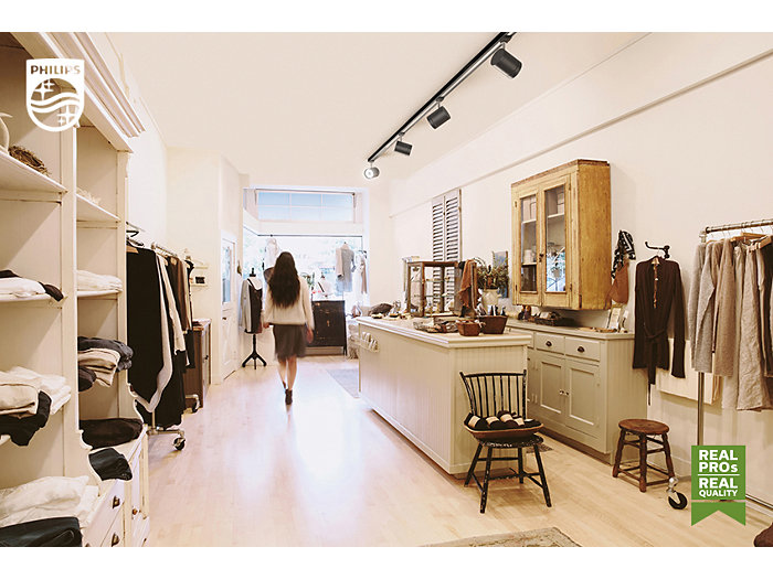 Boutique shop with a walking woman
