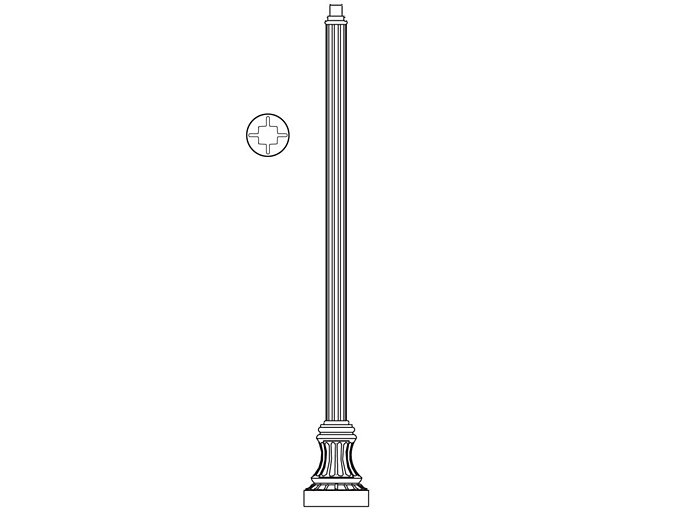 Pole (P2065), Round Straight Fluted Pole