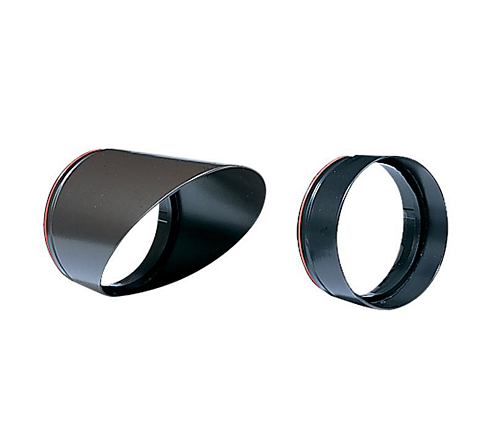 Aluminum Short Shroud, Painted Black, Convex Ice Blue Lens