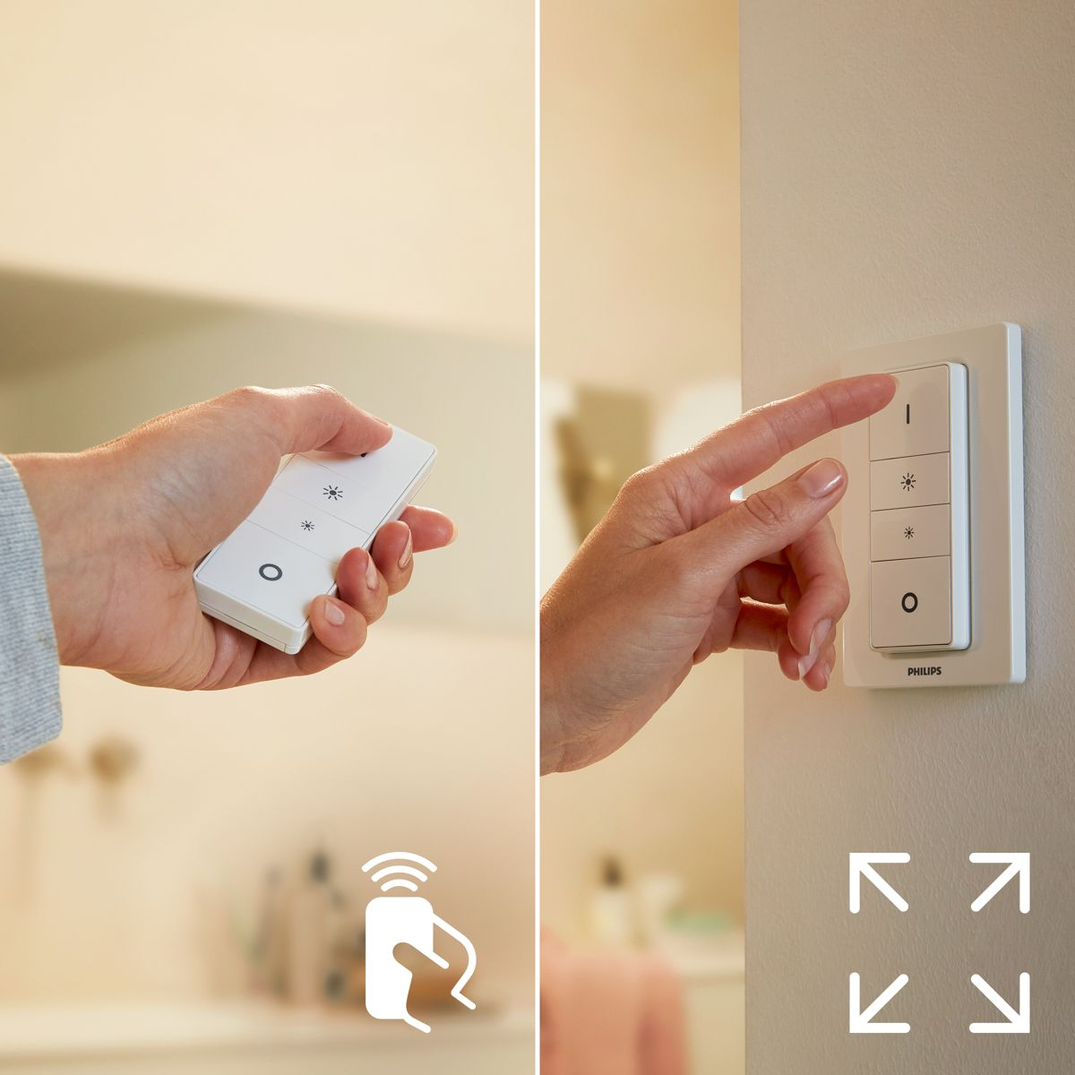Easy and wireless control with the dimmer switch