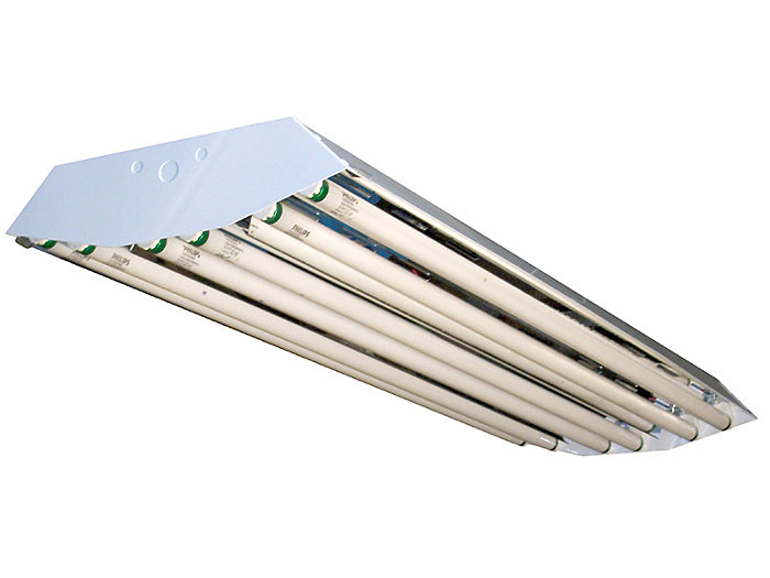 General area light distribution fluorescent High-Bay with hinged socket bar assembly available with 6 lamps T5 or T8.