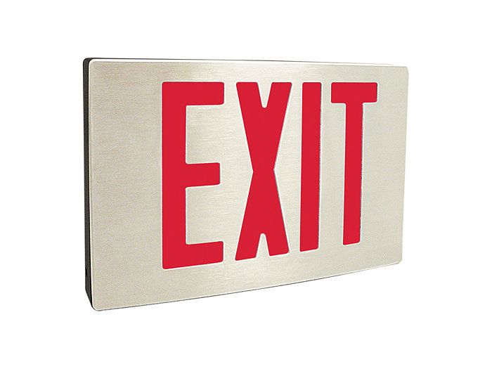 NYC Approved, Die Cast Aluminum LED Exit, White Housing, Emergency LED, Universal Face, 8 inch letters, Red Panel, Self Diagnostics