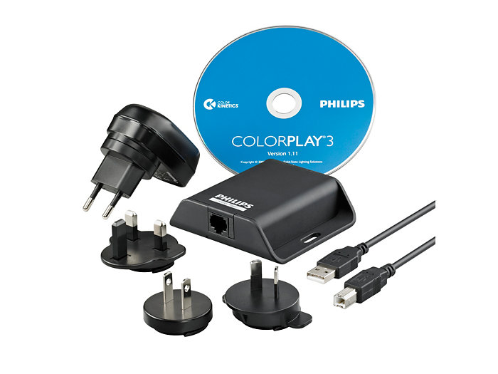Kit content: iColor Player controller, universal power supply and USB calble