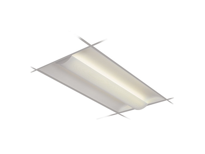 2x4, 3 Lamp F54T5HO, Semi-Recessed w/ 2-Piece Perforated Metal Shield & White Overlay