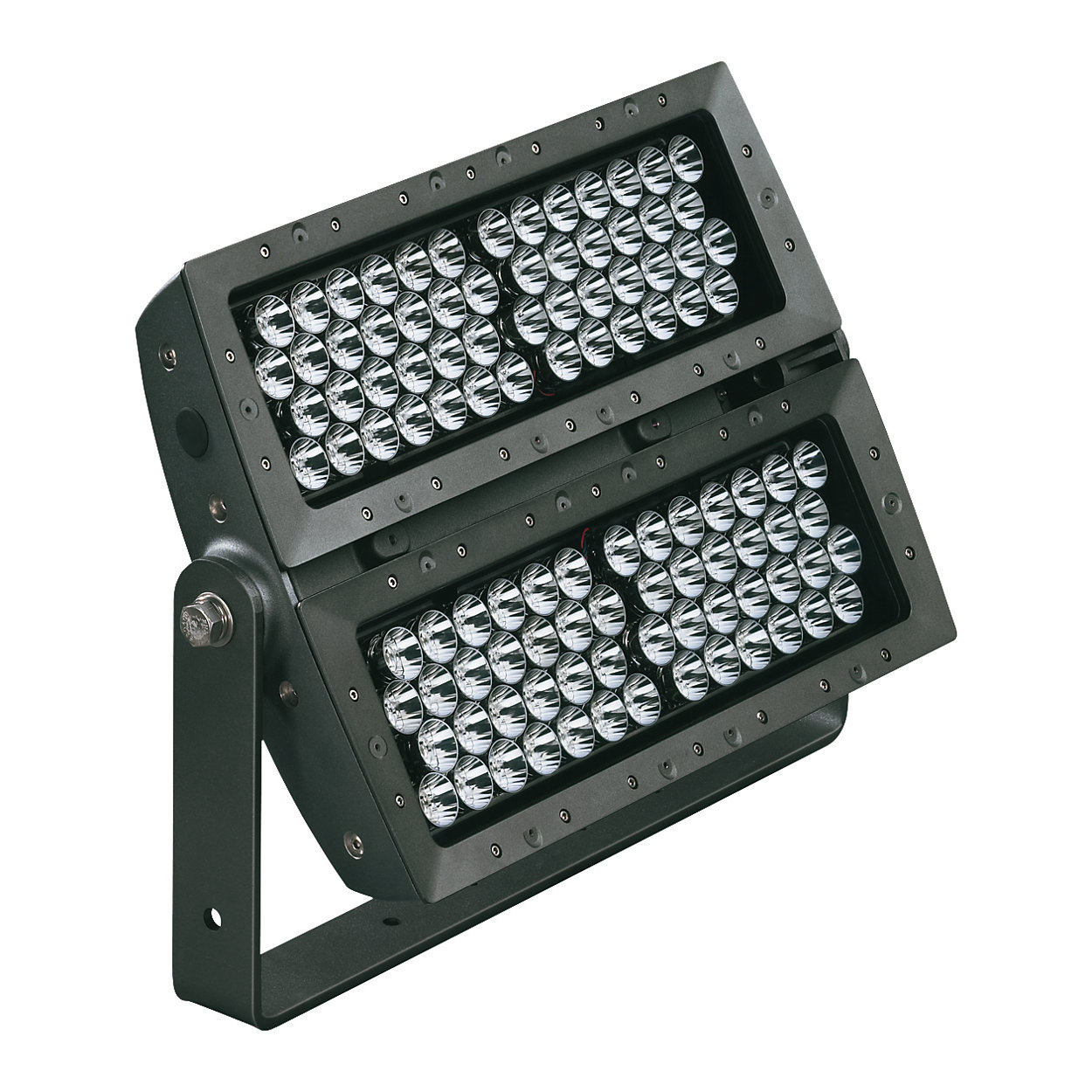 Exterior long-throw floodlight with solid color light
