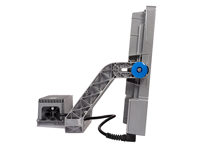 Side View of BVP427 floodlight (HGB : With attached Driver Box)