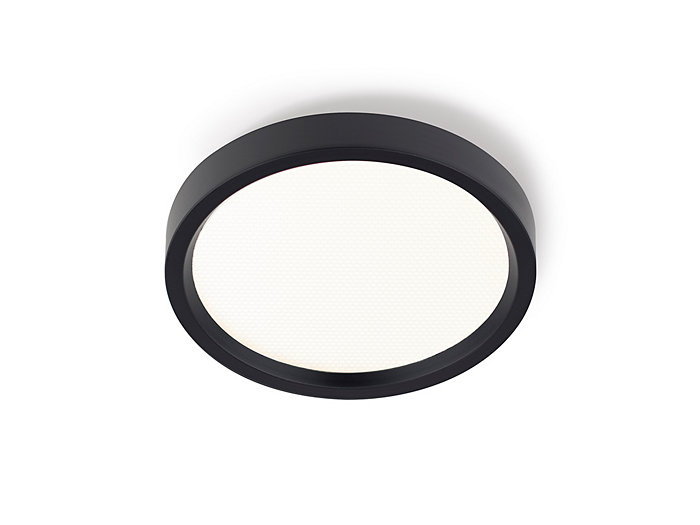 "SlimSurface LED 7"" round downlight, 90 CRI, 2700K, 1000 lm,120/277V, 0-10V dimming, wet location, black finish"
