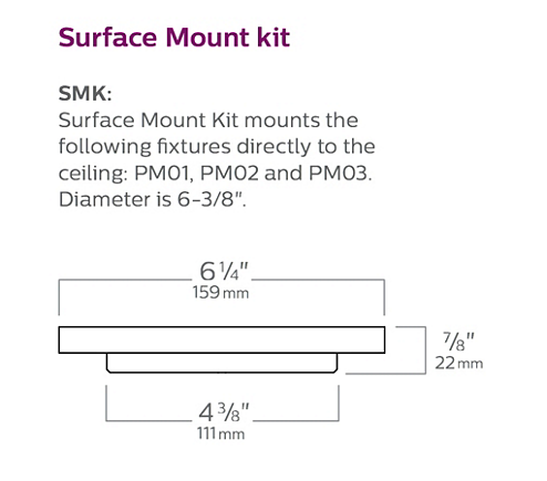 "Surface Mount Kit - Mounts PM directly to the ceiling (6.375"" dia.)."
